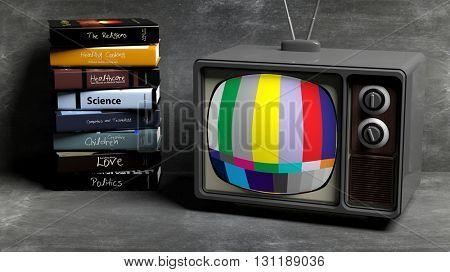 Antique TV set and stack of books, on blackboard  background. 3D rendering