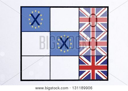 EU and United Kingdom flag on the board of Tic Tac Toe Game concept of Brexit referendum