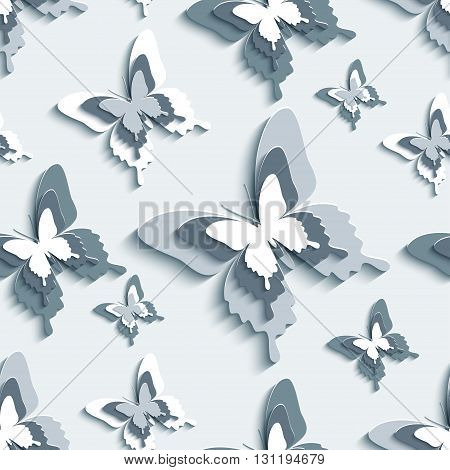 Modern stylish background seamless pattern with flying white gray black 3d butterflies cutting paper. Trendy creative wallpaper. Vector illustration