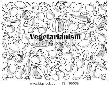 Vegetarianism design colorless set vector illustration. Coloring book. Black and white line art