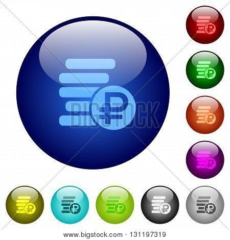 Set of color ruble coins glass web buttons.