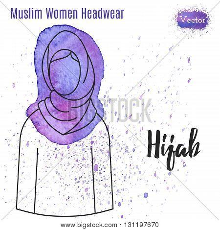 Hijab. Hijab watercolor. Hijab vector. Hijab illustration. Hijab painting. Hijab image. Hijab logo. Hijab avatar. Hijab eps. Traditional hijab. Female in hijab. Islamic woman in hijab. Hijab outline.