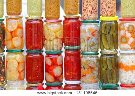 Various Pickled Vegetables in Mason Jars Canning