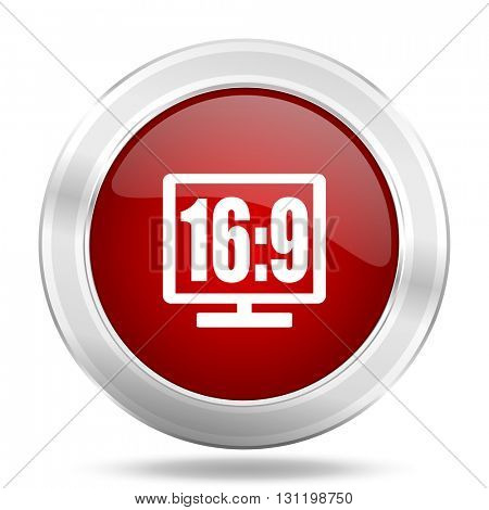 16 9 display icon, red round metallic glossy button, web and mobile app design illustration