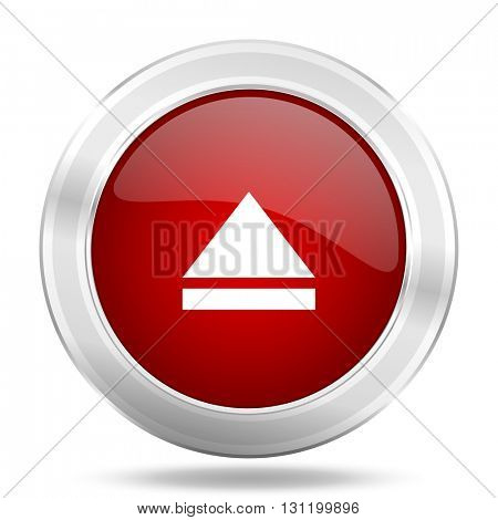 eject icon, red round metallic glossy button, web and mobile app design illustration