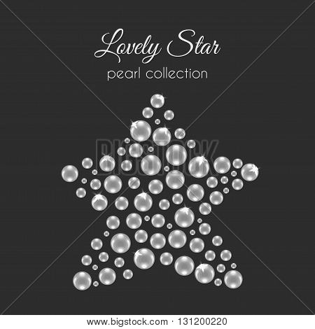 Vector perls. Pearl in star shape. White pearls design with sparkles. Decorative wedding element.
