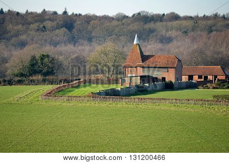 Oast House in East Sussex UK used for drying hops used in beer making.