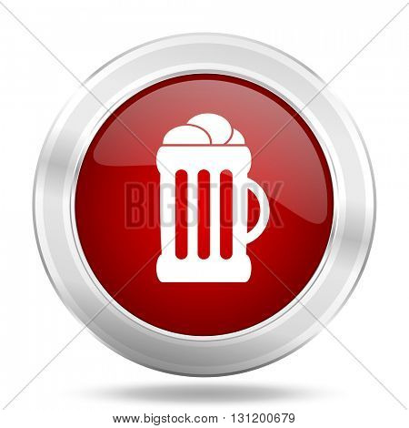 beer icon, red round metallic glossy button, web and mobile app design illustration
