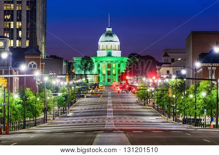 Montgomery, Alabama, USA with the State Capitol.