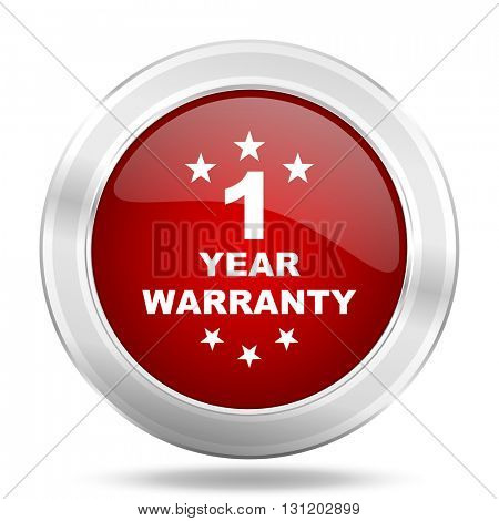 warranty guarantee 1 year icon, red round metallic glossy button, web and mobile app design illustration