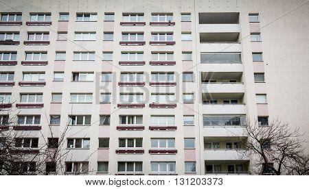 Facade Of A Plattenbau At Berlin Alexanderplatz