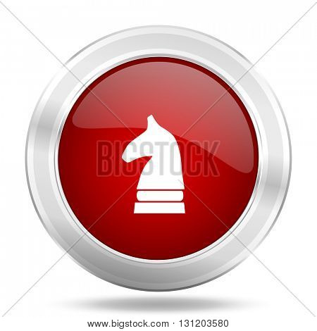 chess horse icon, red round metallic glossy button, web and mobile app design illustration