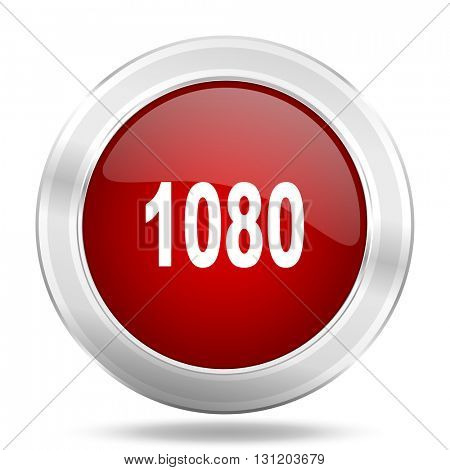 1080 icon, red round metallic glossy button, web and mobile app design illustration