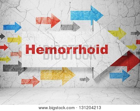 Health concept:  arrow with Hemorrhoid on grunge textured concrete wall background, 3D rendering