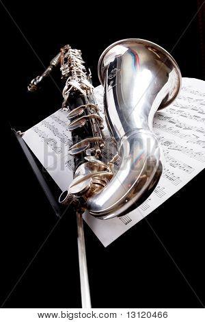 Musical background – instruments. Shot in studio.