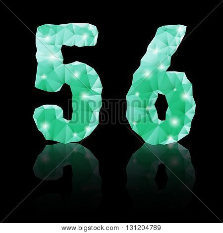 poster of Shiny emerald green polygonal font with reflection on black background. Crystal style 5 and 6 numerals
