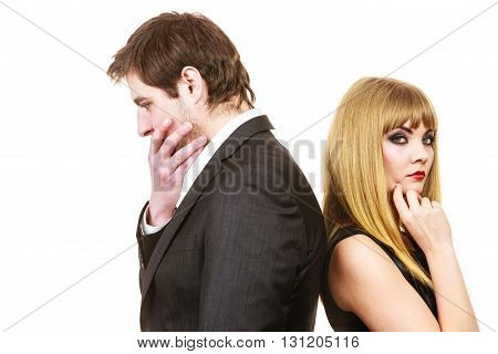 Elegant couple ignore each other after arguement. Lovers woman and man standing back to back not speaking side view. Isolated on white.