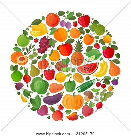 Fruit and vegetable vector circle on a white background. Healthy food. Flat illustrations