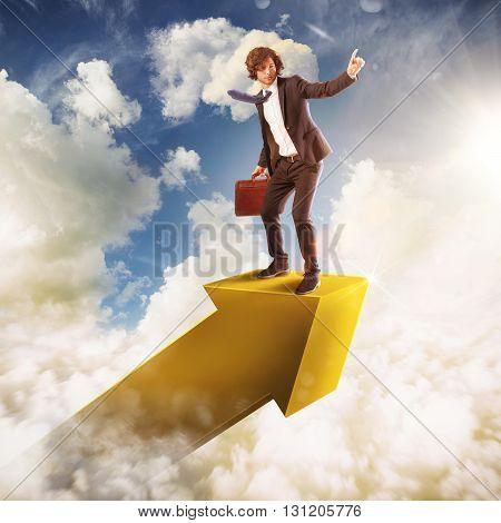 Man on an arrow in the sky