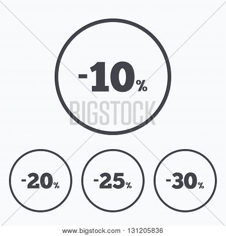 Sale discount icons. Special offer price signs. 10, 20, 25 and 30 percent off reduction symbols. Icons in circles.