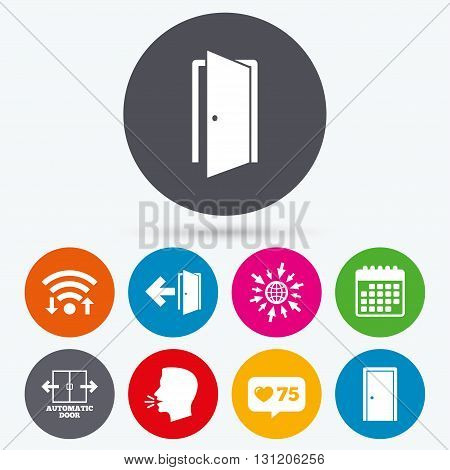 Wifi, like counter and calendar icons. Automatic door icon. Emergency exit with arrow symbols. Fire exit signs. Human talk, go to web.