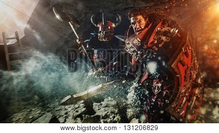 Attack Of Powerful Knights In Heavy Armor On The Dungeon Background.