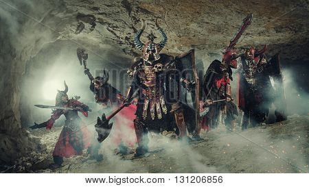 Battle Of Powerful Knights In Heavy Armor In The Forbidden Caves.