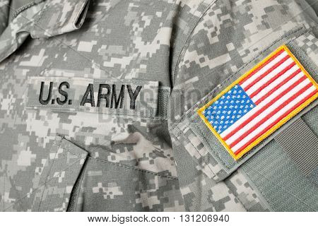 Us Flag And U.s. Army Patch On Military Uniform