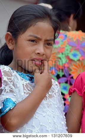 SANTA CRUZ GUATEMALA MAY 03 2016: Portrait of a Mayan child. The Mayan people still make up a majority of the population in Guatemala,