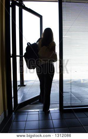 Woman Leaving Work