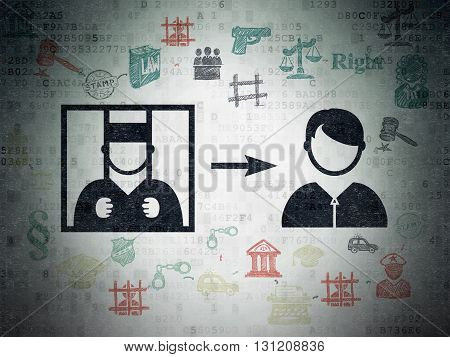 Law concept: Painted black Criminal Freed icon on Digital Data Paper background with Scheme Of Hand Drawn Law Icons