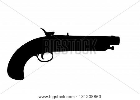 flintlock pistol silhouette isolated over a white background with clipping path at this size