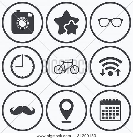 Clock, wifi and stars icons. Hipster photo camera with mustache icon. Glasses symbol. Bicycle family vehicle sign. Calendar symbol.