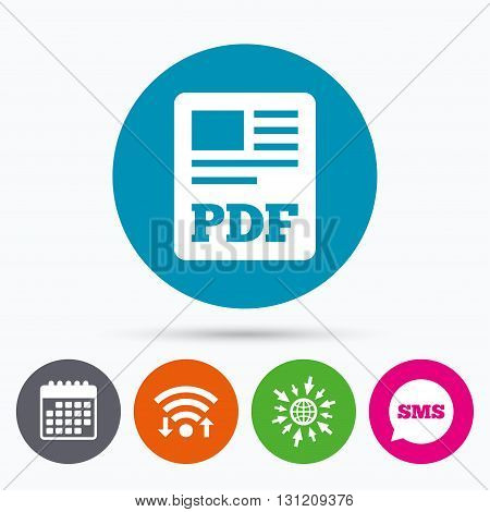 Wifi, Sms and calendar icons. PDF file document icon. Download pdf button. PDF file symbol. Go to web globe.