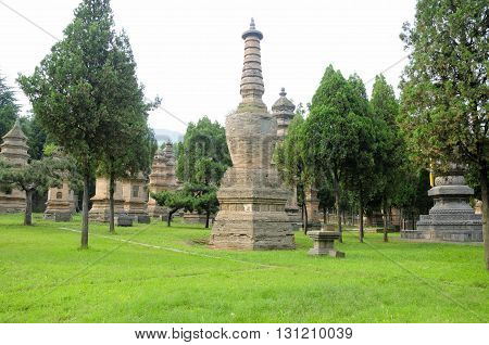 The pagoda forest (talin) at Shaolin Temple scenic area near Dengfeng City China located in Henan Province.