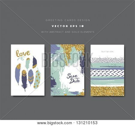 Save the date, invitation cards  and valentine's day card with golden glitter elements