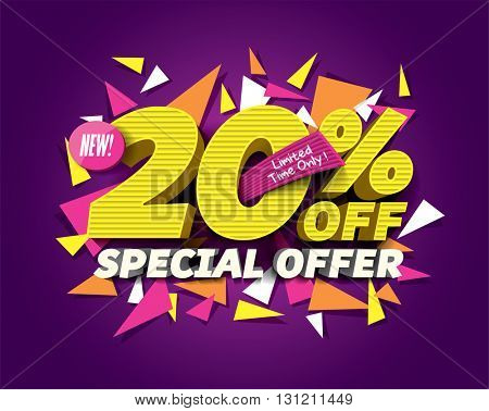 Special Offer Sale concept with abstract triangle elements. sale layout design. Vector illustration.