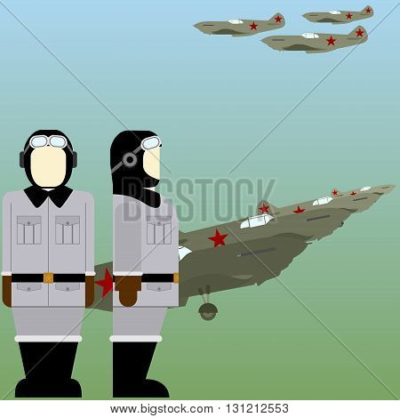 Military aircraft and Soviet military pilots in World War II. The illustration on a white background.