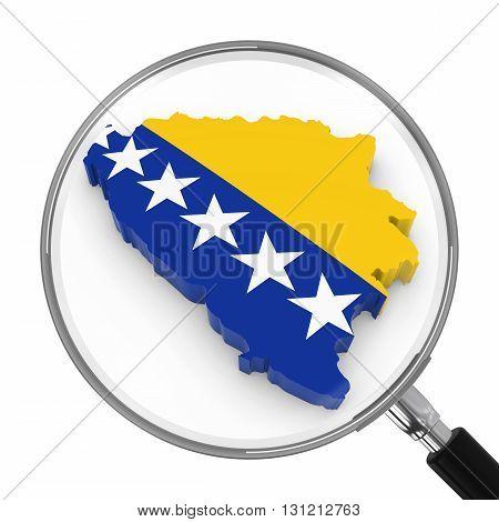Bosnia Herzegovina Under Magnifying Glass - Bosnian Herzegovinan Flag Map Outline - 3D Illustration