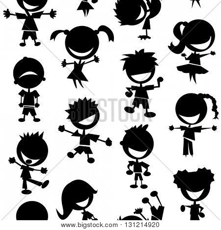 black and white kids seamless pattern on white