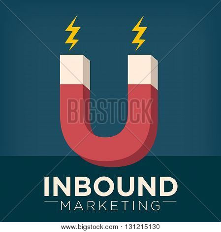 Inbound Marketing Magnet Graphic Attracting with Pull Marketing Tactics and Techniques