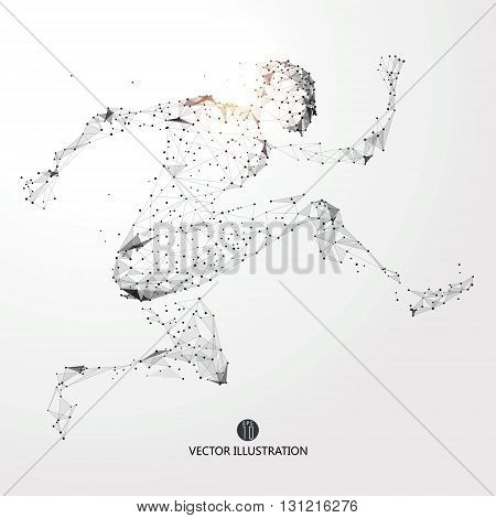 Running Man points lines and connected to form vector illustration.