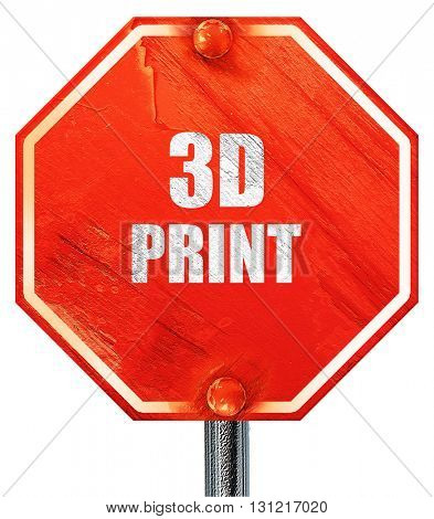 3d print, 3D rendering, a red stop sign