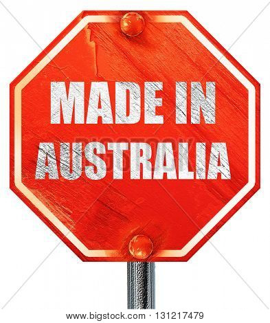 Made in australia, 3D rendering, a red stop sign