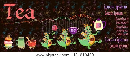 Beautiful card with happy dragons, teapot, cups, cupcake and place for text on floral background. Teatime. Cute vector illustration.