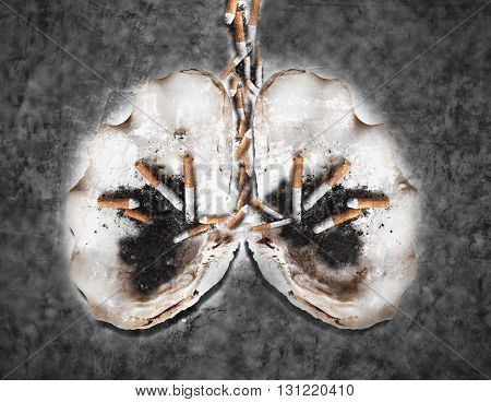 Abstract smoking human lung, world tobacco day, smoking kills concepts