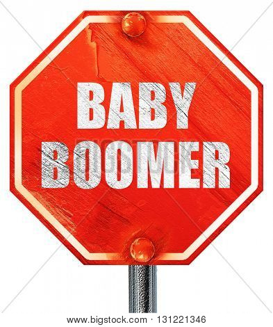 baby boomer, 3D rendering, a red stop sign