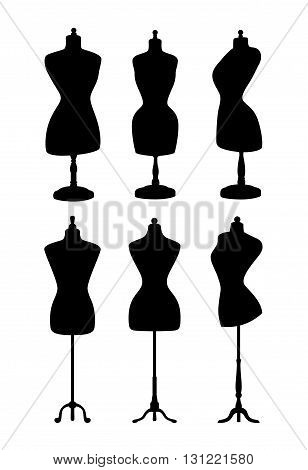 Vintage mannequins. Vector silhouettes isolated on white background.