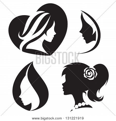 Vector template abstract logo for woman salons and shops. Stylized profile of a young beautiful woman. Abstract logo for a beauty salon. Portrait of a girl. Vector abstract logo. Woman silhouette collection.
