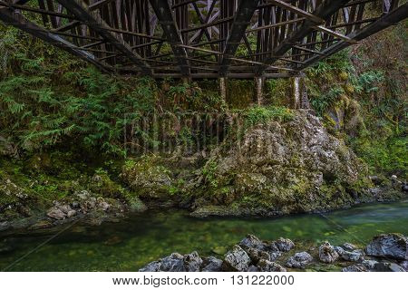 Koksilah River flowing underneath the Kinsol Trestle near Shawnigan Lake, British Columbia Canada